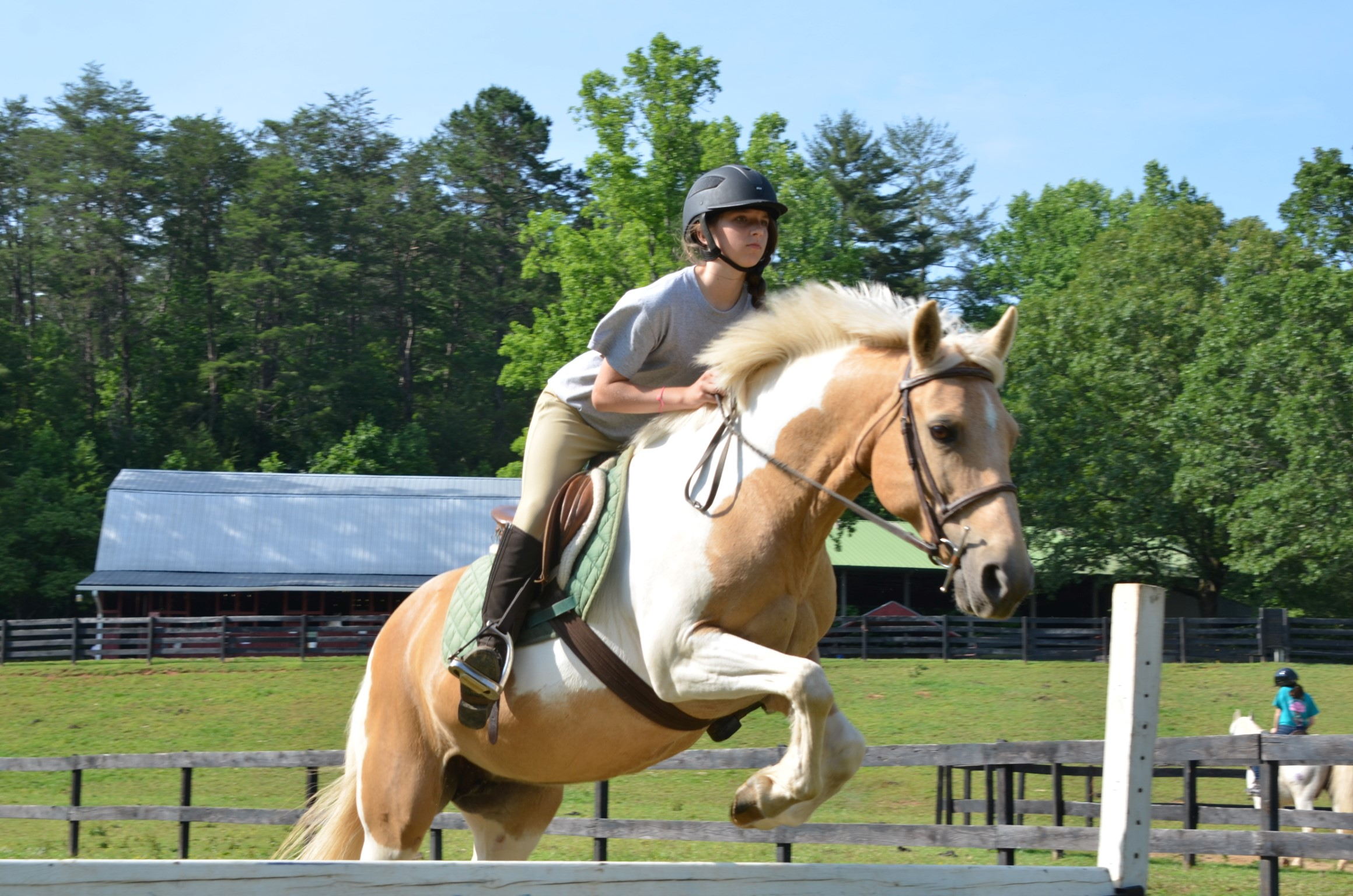 Horse and camper exhibit perfect form as she jumps a beautiful Palomino over a rail.