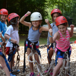 Junior campers gear up for the zipline