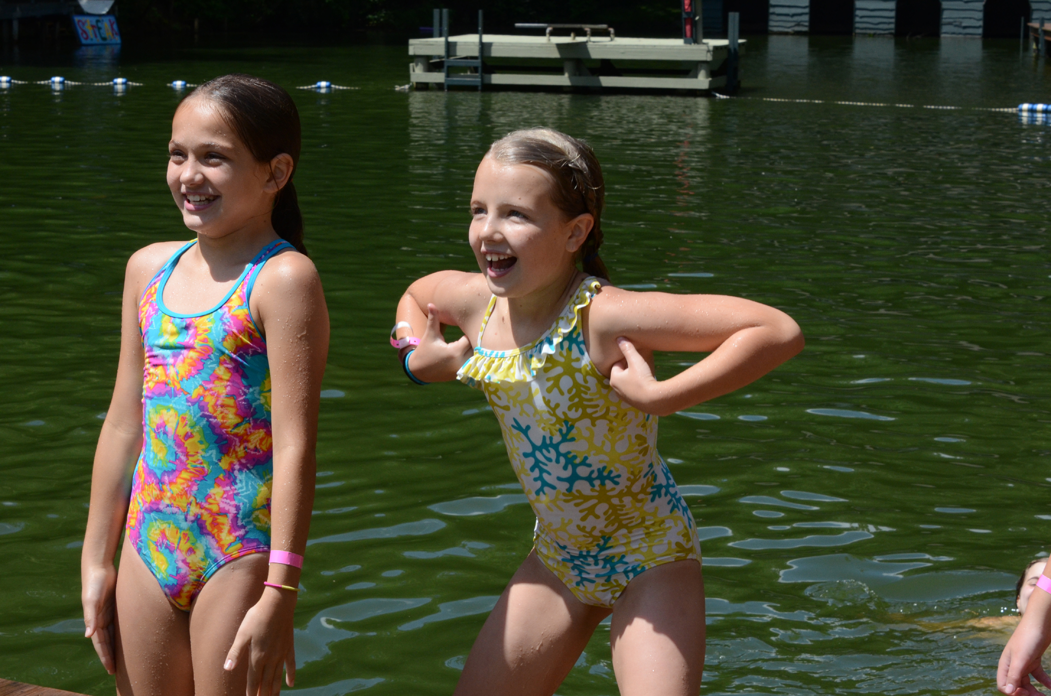 campers on waterfront learning new strokes