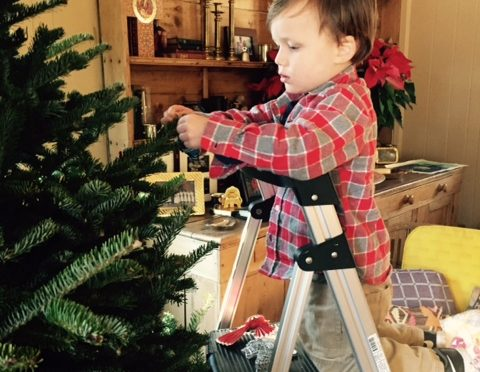 Brooks helps decorate!