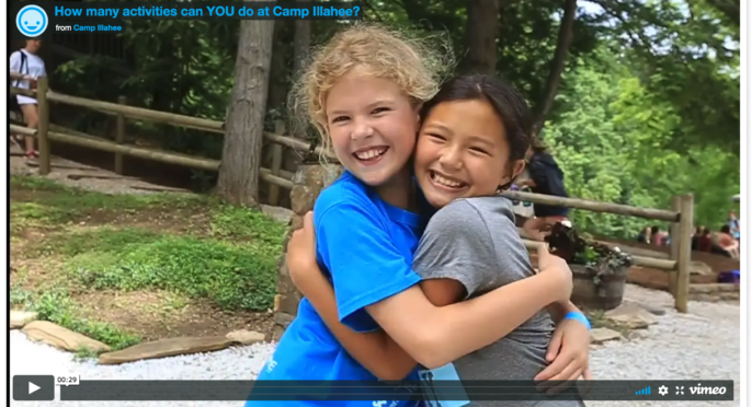 2 Girls Hug at the end of an activity movie.
